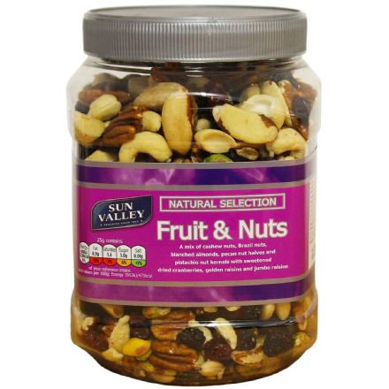 Sun Valley Fruit & Nuts 1.1Kg Tub Natural Selection, Brazil, Pistachios, Cashew